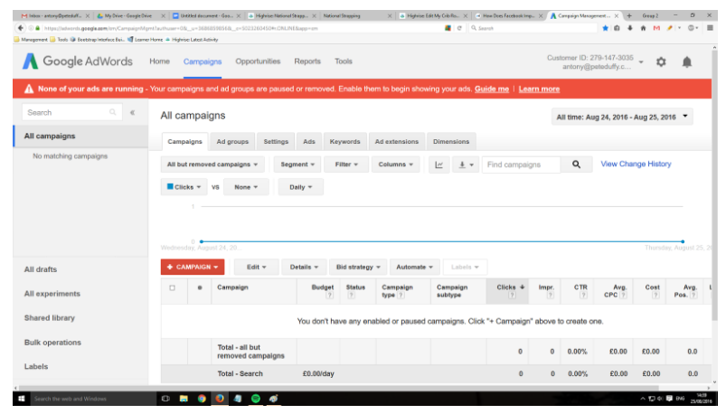 pay per click management with the creation of a Google campaign