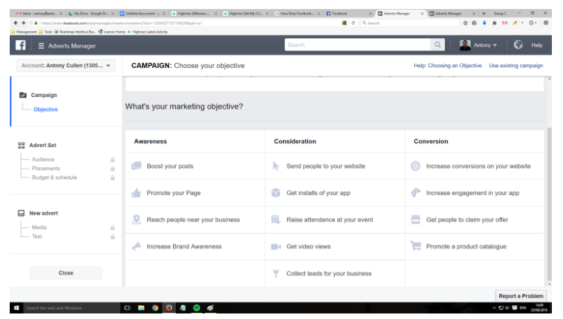 pay per click management when creating an ad in Facebook
