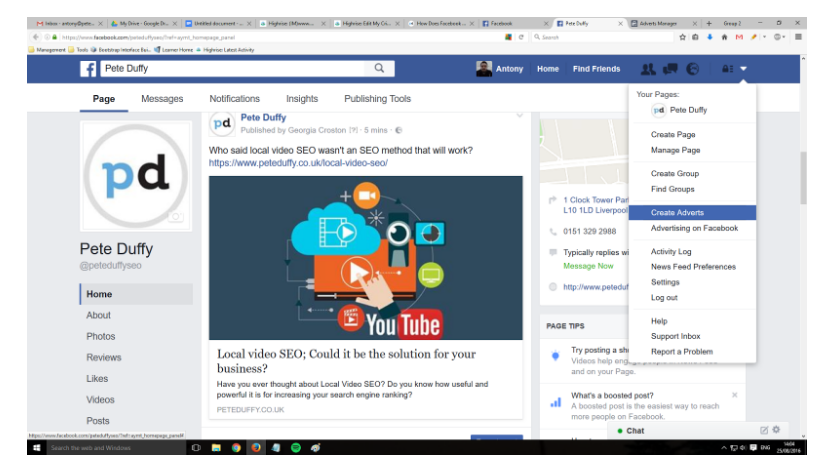 pay per click management within Facebook