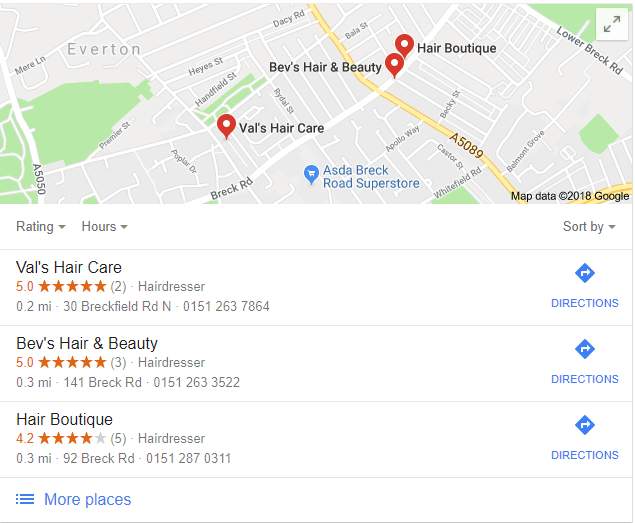 local pack business reviews
